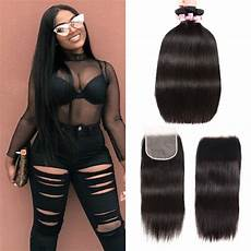 Amazon Com 3 Part Lace Closure Straight With Beautyforever Indian Straight 3 Bundles With Free Part 5x5