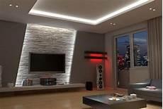 fernseher an die decke indirekte led wandbeleuchtung im wohnzimmer hinter