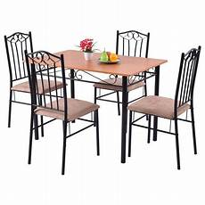 walmart kitchen furniture costway 5 pc dining set wood metal table and 4 chairs