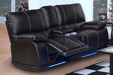sofa led party time midnight reclining sofa set led lights power