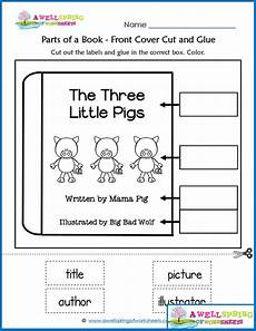 worksheets by subject parts of a book kindergarten worksheets concepts of print