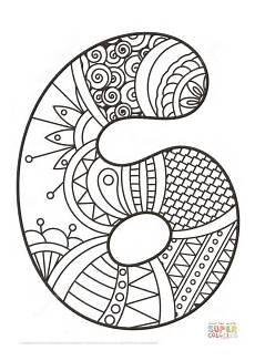 mandala coloring pages by numbers 17867 number 6 zentangle coloring page free printable coloring pages