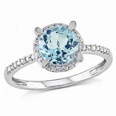 7 0mm sky blue topaz and diamond accent frame engagement ring in 10k white gold engagement