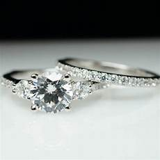 beautiful 3 stone solitaire diamond engagement ring wedding band complete bridal