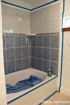 Can Bathroom Wall Tile Be Painted by How To Refinish Outdated Tile Yes I Painted My Shower