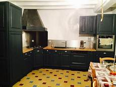 Cuisine En Chene Repeinte En Noir Style Bistrot Housing