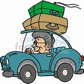Person Driving A Car With Suitcases On The Roof Clipart