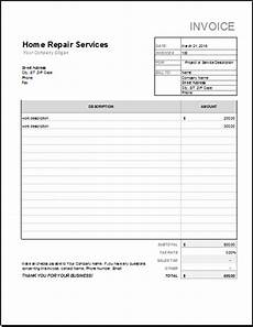 home repair receipt template for excel word excel templates