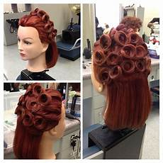 hair pin up on a up do pin curls mannequin styles hair styles retro