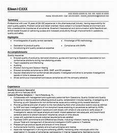 quality assurance specialist resume sle livecareer