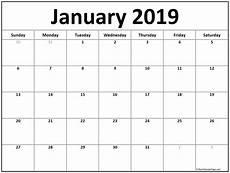 january 2019 calendar free printable monthly calendars
