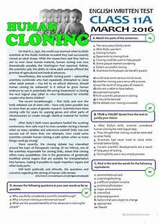 human cloning 11th grade test worksheet free esl printable worksheets made by teachers