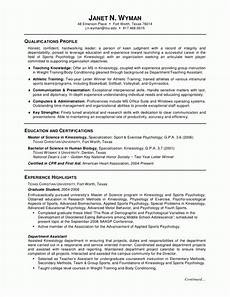 resume objective for kinesiology kinesiology resume