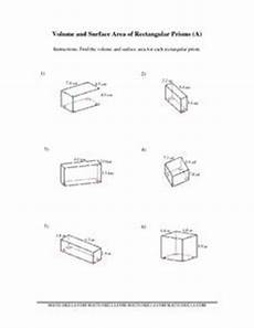 volume and surface area of rectangular prisms 7th 10th grade worksheet lesson planet