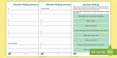decision making cut and stick worksheet making decisions worksheet