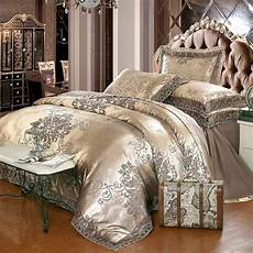 jacquard bed linen king queen size 4pcs lace satin duvet cover gold green silk cotton