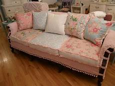 sofa shabby chic shabby chic slipcovered sofa vintage chenille and roses