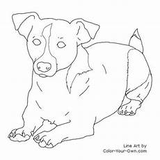 russel terrier niederlegung linie kunst hund