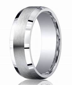 men silver satin ring polished edges