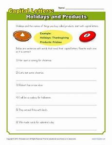 capitalization worksheet holidays and products practice activity k12 language arts