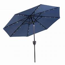 sunray 9 ft bluetooth speaker solar lighted market umbrella in navy 841042 the home depot