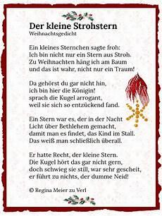 der kleine strohstern gedicht weihnachten gedichte zum
