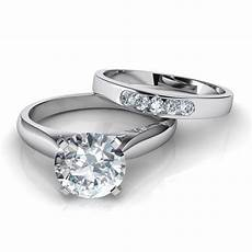 tapered cathedral solitaire engagement ring wedding band bridal natalie diamonds