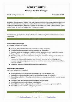 Kitchen Manager Description Pdf assistant kitchen manager resume sles qwikresume