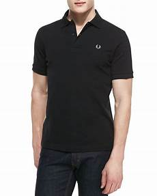 fred perry shortsleeve polo shirt black in black for