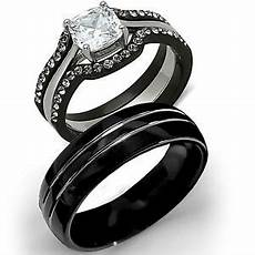 his tungsten hers black stainless steel 4 pc wedding engagement ring band ebay