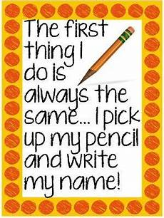 the first thing i do is always the same i pick up my pencil and write my name classroom