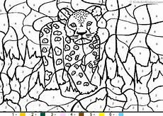 color by number animal worksheets 16069 animal color by number color by number leopardcub coloring pages