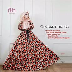 jual promo longdress baju pesta gaun muslim gamis bunga crysant terbaru cek harga di