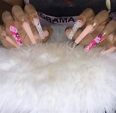 Summer Coffin Acrylic Nails Brown Skin
