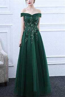 green off shoulder long tulle prom dress 2019 formal gowns green party dresses green formal