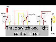 3 switch one light control diagram three way lighting circuit earth bondhon youtube