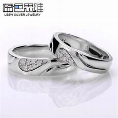 blue sweet couple rings diamond accent half heart wedding bands heart puzzle promise rings