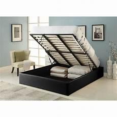 cadre de lit avec coffre majesty lit coffre adulte contemporain simili noir