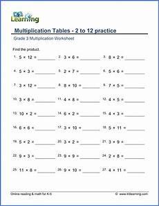 grade 3 math worksheet multiplication tables of 2 to 12 k5 learning