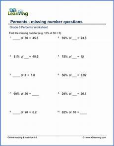 grade 6 percents worksheets free printable k5 learning