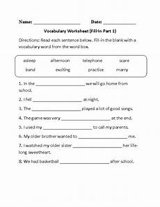vocabulary worksheets fill in vocabulary worksheets part 1
