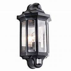 endon traditional pir half lantern outdoor porch wall light ip44 60w black pc liminaires