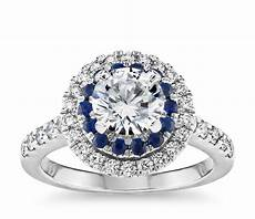 sapphire and diamond double halo engagement ring in 14k white gold 1 2 ct tw blue nile