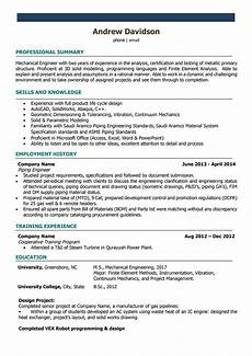 mechanical engineer resume sles and writing guide