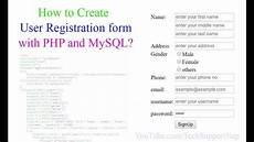how to create user registration form with php and mysql with source code youtube