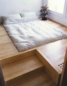 Schlafzimmer Ideen Bett Bettenarte Eingebaut Podest Holz