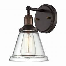 sconce wall light with clear glass in rustic bronze finish 60 5512 destination lighting