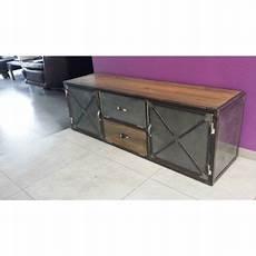 meuble industriel tv acier et bois vintage meuble