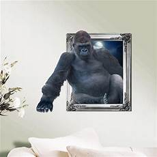 3d sticker chimpanzee 3d wall decals animal pag sticker removable