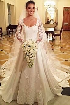 Sleeves Lace Neck Modest Cheap Wedding Dresses Cheap Unique Bridal Dresses Wd598